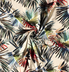 Digitale tricot met kleurrijke palmbladeren beige