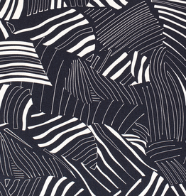 Viscose linnen abstracte bladerprint marine