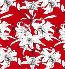 Viscose linnen rood gebloemd