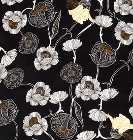 Coupon 90x 140 Katoenstretch spandex zwart met bloemen geel/wit