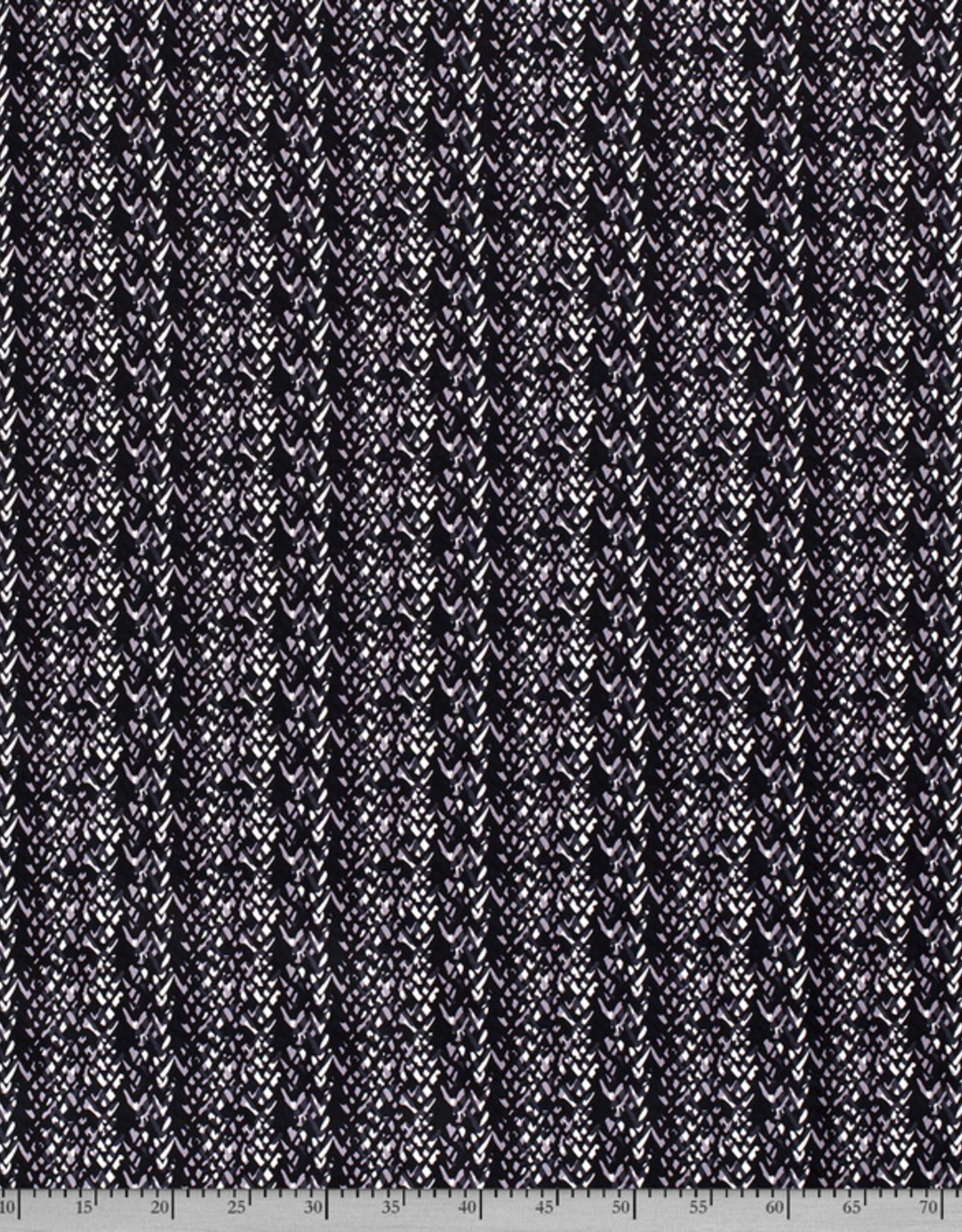 Katoenstretch V-print blauwtinten *MyImage