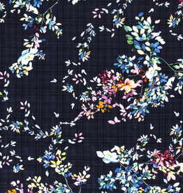Katoen viscose geruit met bloemenprint navy *Stitched