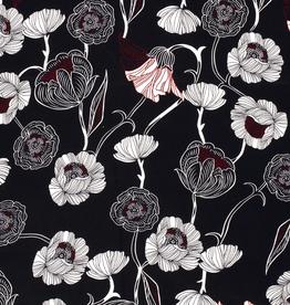 Katoenstretch spandex donkerblauw met bloemen rood/wit *MyImage