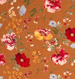 Coupon 80x140 Viscose lichtroest kleurrijke bloemen met lurex gouden lijnen