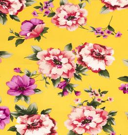 Scuba crepe 4way stretch geel met felle bloemen