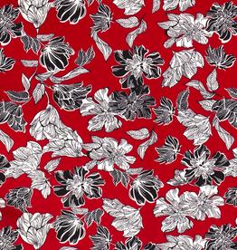 Scuba crepe 4way stretch rood met zwarte en witte bloemen