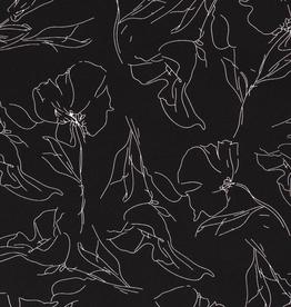 Coupon 50x140 Scuba crepe 4way stretch zwart met witte lijntekening bloemen