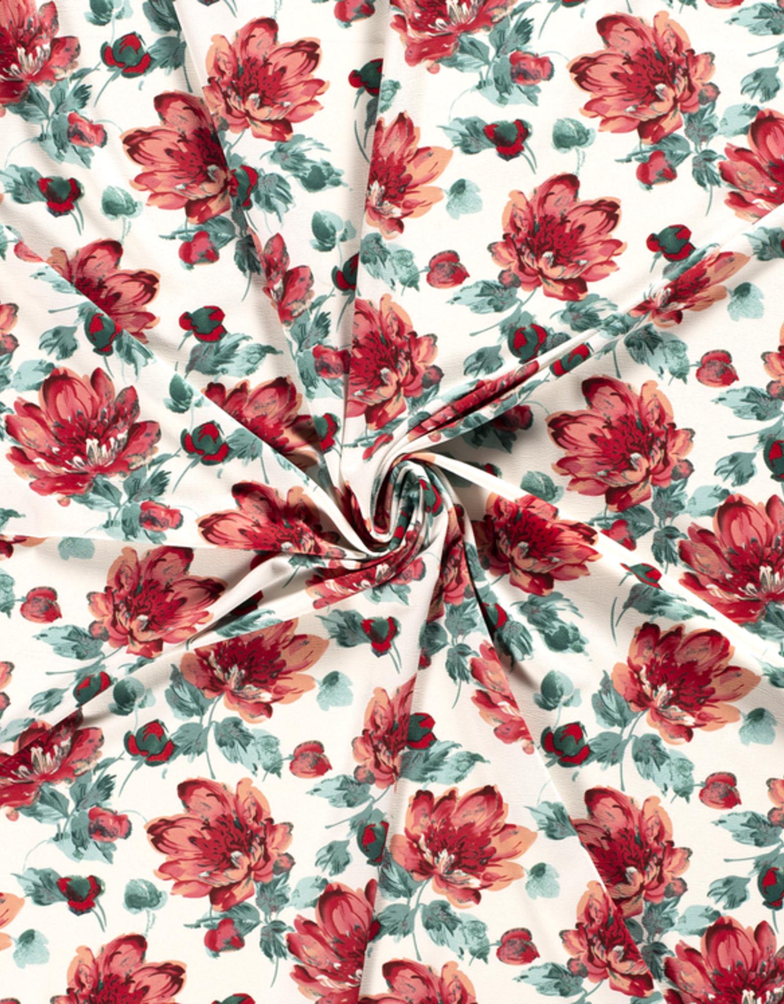 Scuba crepe 4way stretch wit met rode bloemen *MyImage