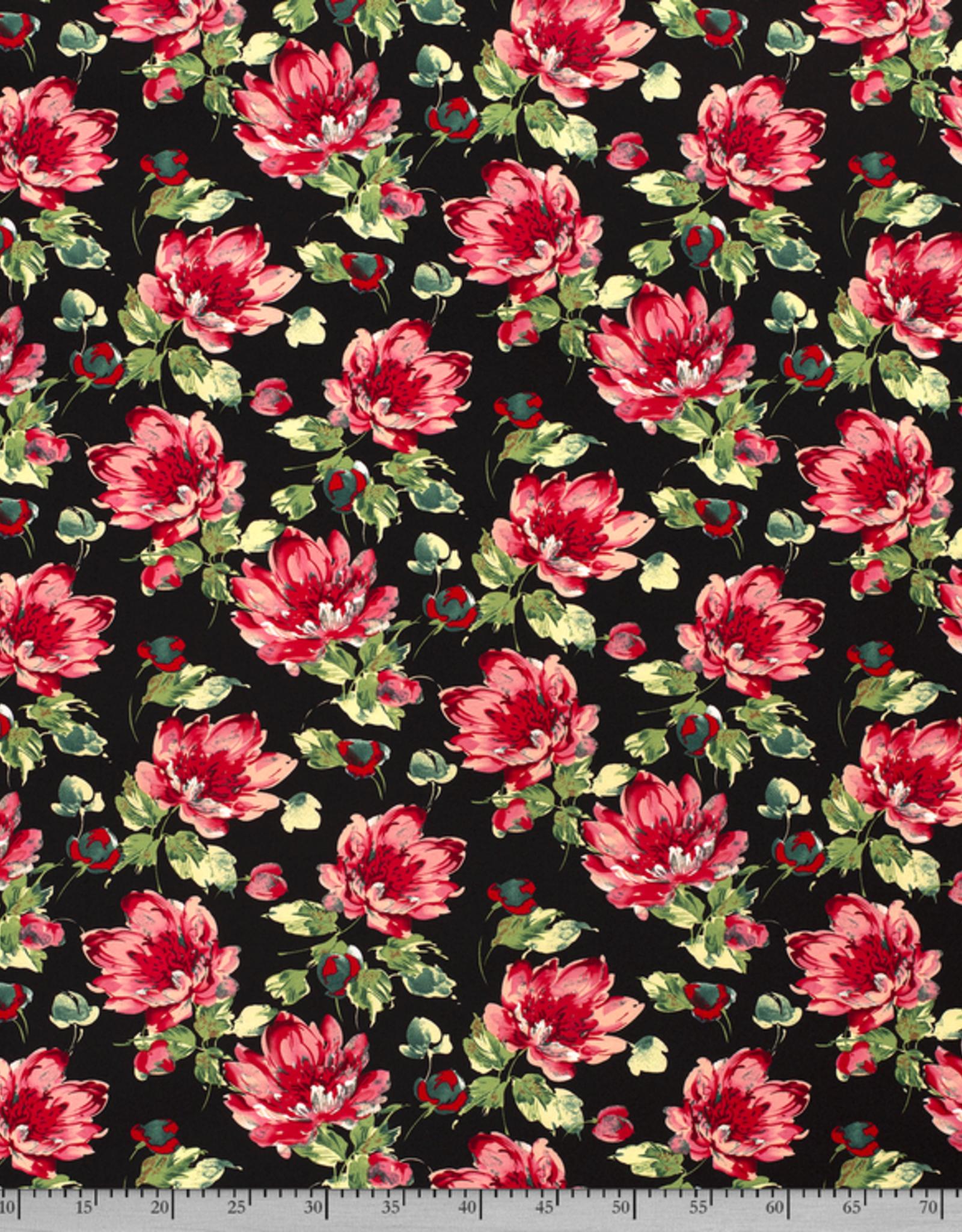 Scuba crepe 4way stretch zwart met rode bloemen *MyImage