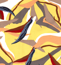 Scuba crepe 4way stretch geometric print groengeel *MyImage