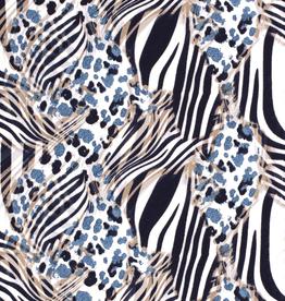 Viscosejersey all-over dierenprints blauwtinten