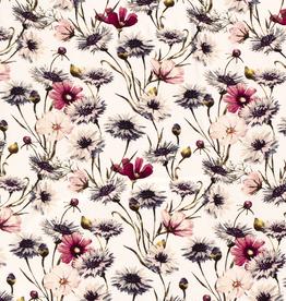 Viscosejersey wit met wilde bloemen in roostinten *MyImage