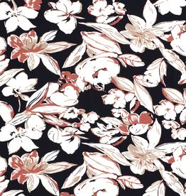 Viscosejersey navy met ecru beige roestkleurige bloemen