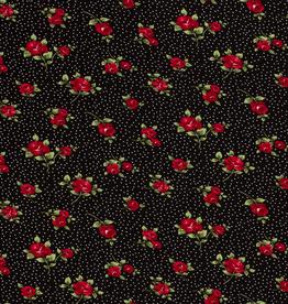 Viscosejersey zwart dottie roosjes