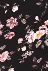 Chiffon zwart met roze bloemen