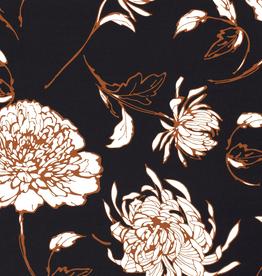 Coupon 60x140 Chiffon marine met grote bloemen roest/wit