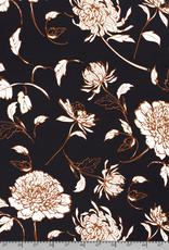 Chiffon marine met grote bloemen roest/wit