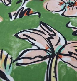 La Maison Victor coupon 120x140cm Viscose groen tropische print  - LMV ALMA top/jurk