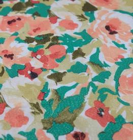 La Maison Victor COUPON Viscose groen rozenprint gouden glitters  - LMV FRIDA blouse 70x140cm
