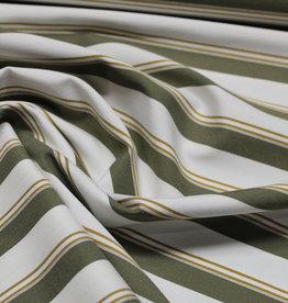 A La Ville Haute Couture Coupon Bengaline offwhite/khaki/oker gestreept 115x140cm