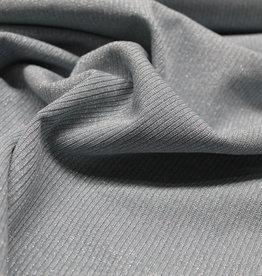 A La Ville Haute Couture COUPON Ribtricot zilver glitter lichtblauw 90x130cm