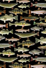 Nature fishes black - Timeless Treasures