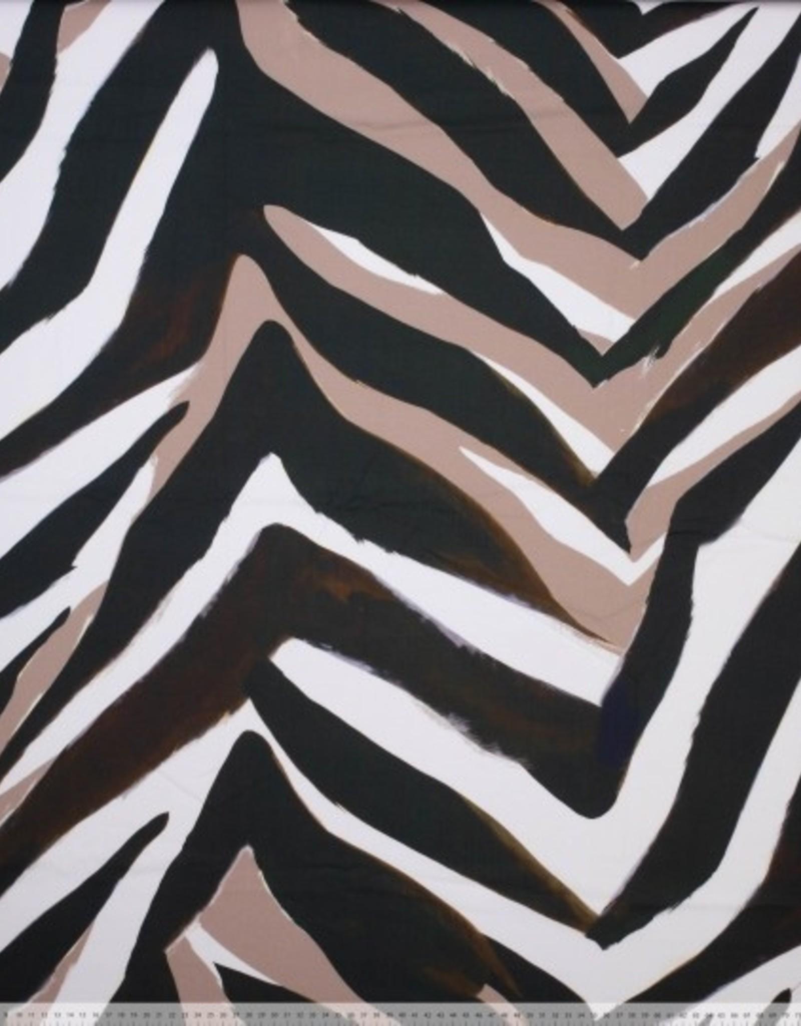 Katoen met stretch zebraprint