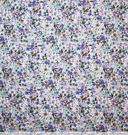 Stretchkatoen blauwe bloemenprint