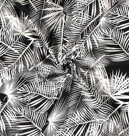 Katoen viscose zwart/wit met groot bladermotief *Stitched