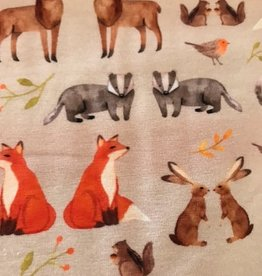 polytex Bosdieren tricot ecru -vos, konijn, mus, das, hert, eekhoorn, haas,... -