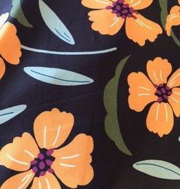 Crepe softtouch zwart met gele bloemen large