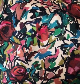 coupon 90x140cm Viscose met abstracte bloemenstructuur