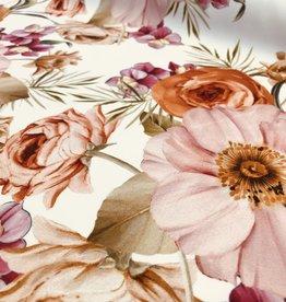 Scuba offwhite met kleurrijke bloemenprint