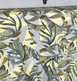 Viscosetricot tropic bladerenprint mint