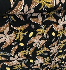 COUPON Viscose zwart  met takjesprint in oker en cognac 135x140cm
