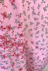 Katoen dobby rose bedrukt met vlinders en bloemetjes in elstroken