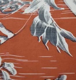 La Maison Victor Viscose linnen koraal rood met motief - LMV HILLA rok