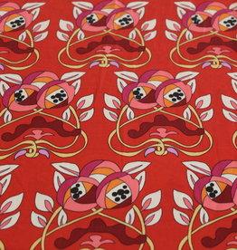 Coupon 110x150 Satijn rood met bedrukking