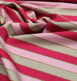 A La Ville Haute Couture Viscosetricot gestreept rose met lurex goud