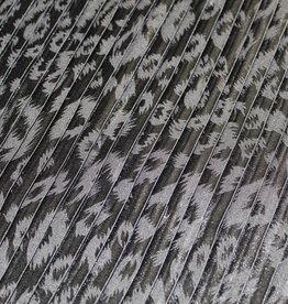 Plissee zwart met folieprint glanzend zwart vlekken leopard