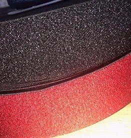Elastiek zwart all-over glitter rood 40mm