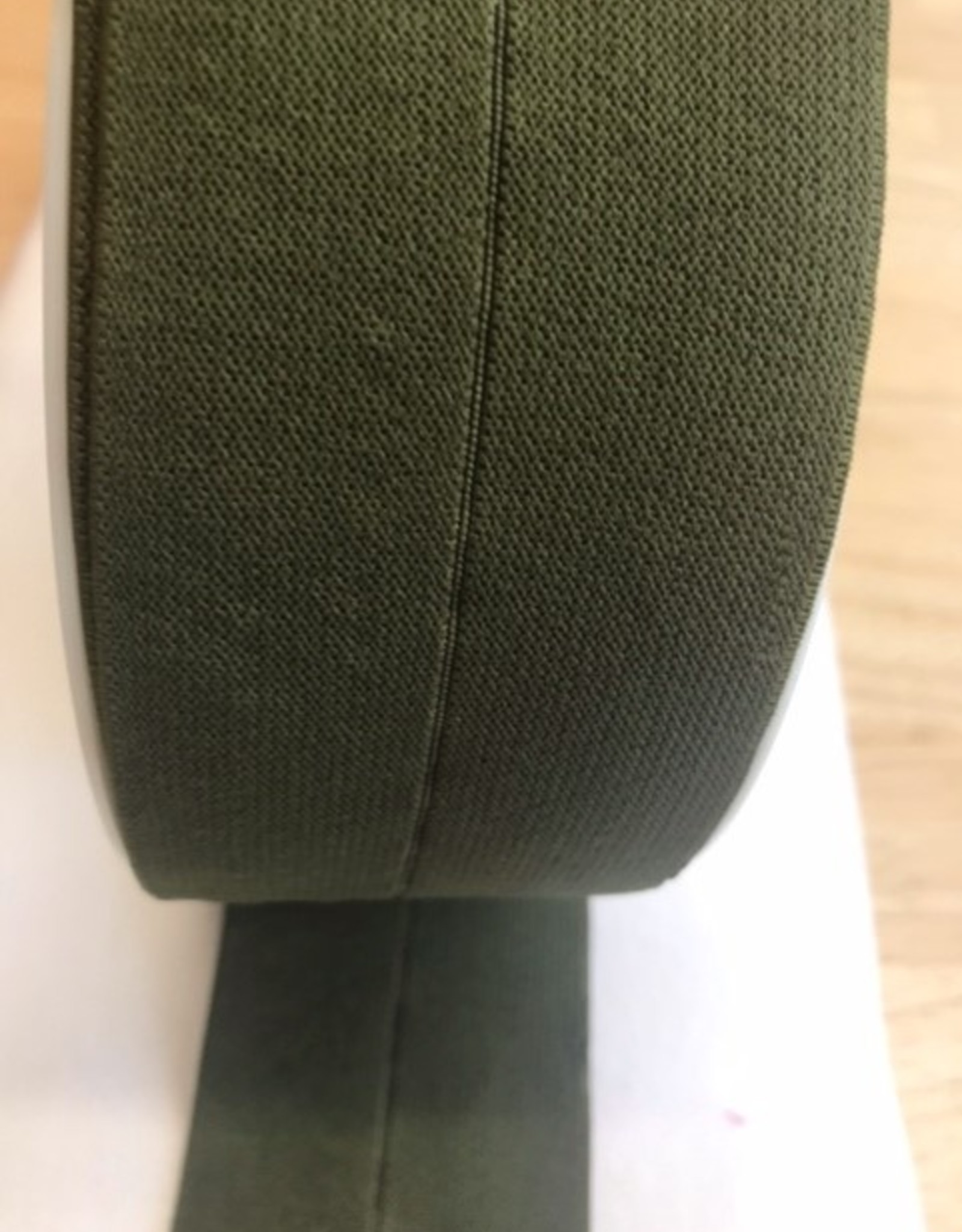 Voorgevouwen elastiek 30mm kaki