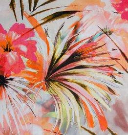 Hilco June neon roze palmbomen linnenmix