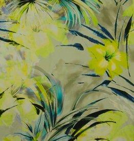 Hilco June neon geel palmbomen linnenmix