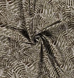 Coupon 1.00x1.30m Viscoselinnen kaki plantenprint