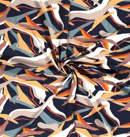 Scuba crepe 4way stretch geometric print navy *MyImage