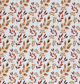 Jersey digital print Leaves Cognac