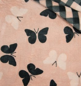 Double Face Cuddle Fleece Butterfly-Checks roze