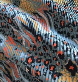 COUPON Plissee donkermunt met dierenprint in felle kleuren  120x140cm