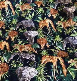 Viscose Jungle Animals navy